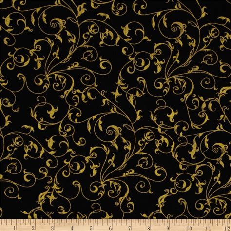 gold pattern fabric 110 quot wide quilt backing filigree black gold discount