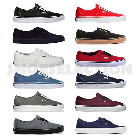 Vans Autentich Size 39 43 Sepatu Pria Sneakers Kets Putih Hitam vans new authentic era classics snikers mens womens canvas shoes all sizes ebay