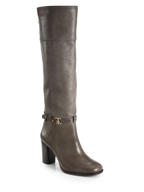 burch leather knee high boots in gray elephant