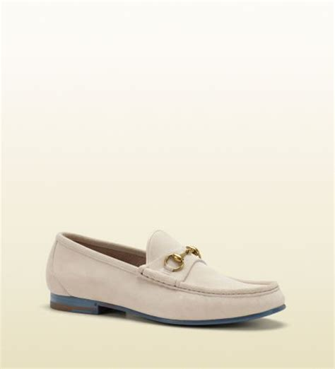 gucci loafers white gucci horsebit loafer in suede in white for lyst