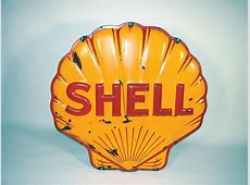 1941 Shell Oil heavily embossed porcelain service station sig Insurance Auto Auctions
