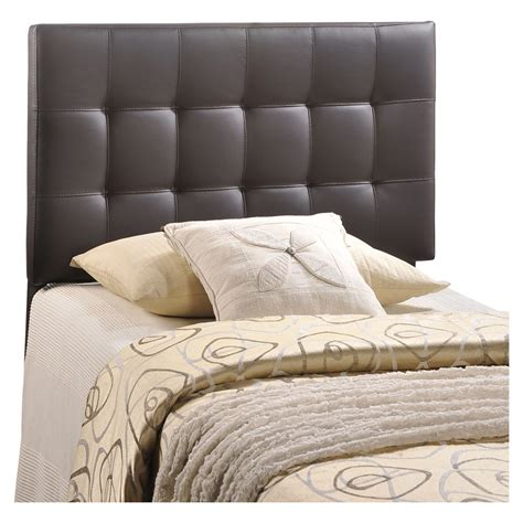 brown headboard double lily twin leatherette headboard tufted brown dcg stores