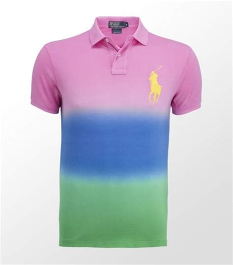 ralph tie dye polo shirt in pink for lyst