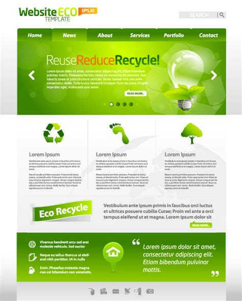 website layout vector free green eco website template design vector 04 over