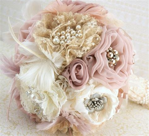 vintage bouquets brooch bouquet vintage style in ivory chagne blush and dusty with feathers lace and