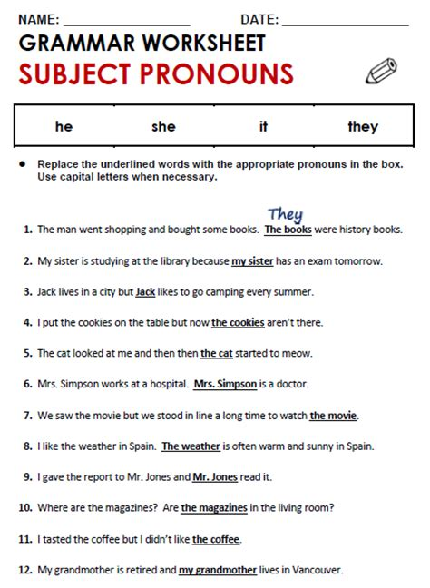 Subject Pronouns Worksheet by Subject And Object Pronouns All Things Grammar