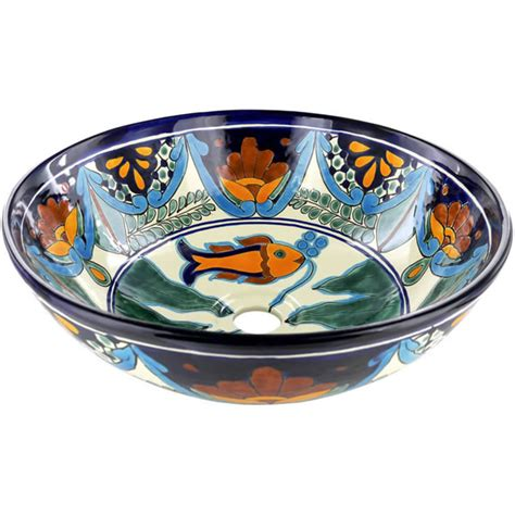 talavera bathroom sinks mexican tile acapulco round vessel above the counter
