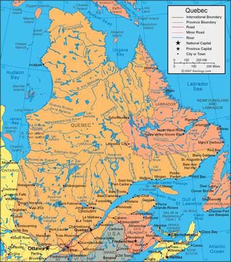 map canada montreal map satellite image roads lakes rivers cities