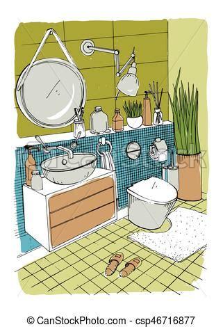 badezimmer clipart badezimmer illustration bunte modern skizze