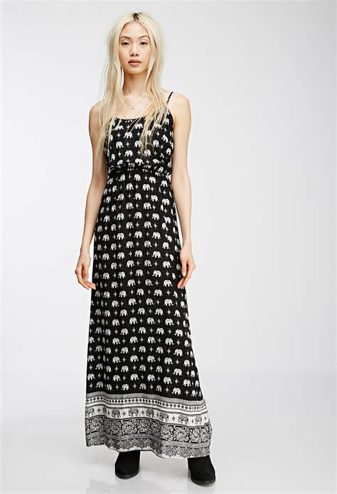forever 21 elephant print maxi dress you ve been added to the waitlist in black lyst