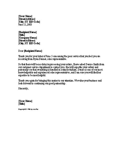 Professional Customer Complaint Letter Service Complaint Resolution Letter Template