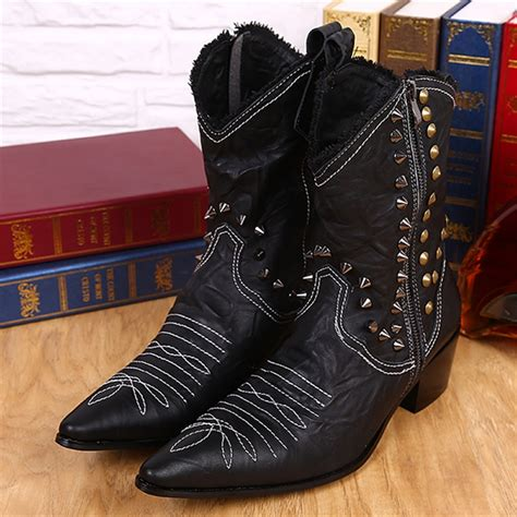 Size 34 43 Women Boots Rivets High Heels Round Toe ariat cowboy boots cowhide leather tooling boots square