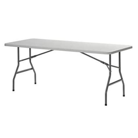 10 Foot Folding Table Sandusky 2 5 Ft L X 6 Ft W Plastic Folding Table In White Pt7230 The Home Depot