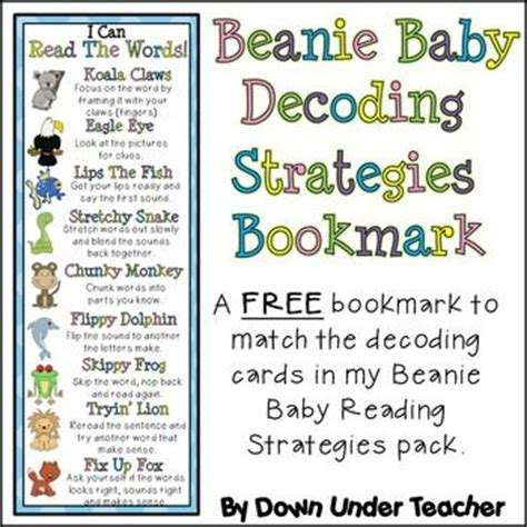 printable bookmarks with reading strategies free beanie baby decoding strategies bookmark tpt free