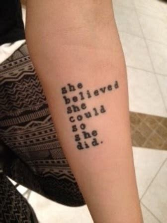 she believed she could tattoo typographic arm she believed she could soshe did