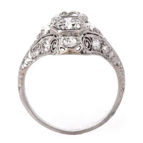 antique deco platinum filigree engagement ring
