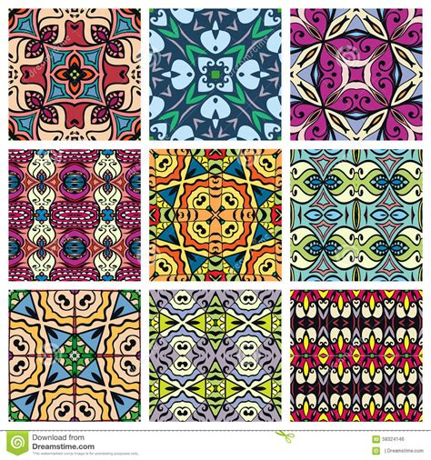 design elements textiles set of seamless geometric patterns design stock vector