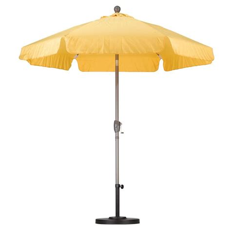 Home Depot Patio Umbrella California Umbrella 7 1 2 Ft Fiberglass Push Tilt Patio Umbrella In Yellow Spunpoly Alus756t