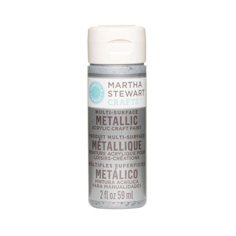martha stewart crafts 2 oz platinum multi surface metallic acrylic craft paint 32992 the