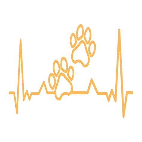 heartbeat paw print cardiogram stroke transparent png