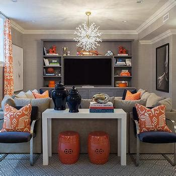 Navy Blue Chevron Curtains Orange And Navy Sectional Pillows Design Ideas