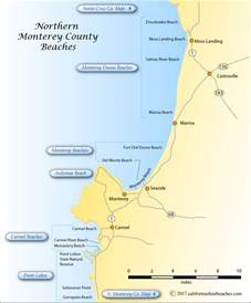 map of monterey county california northern monterey county beaches