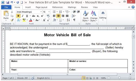 Free Vehicle Bill Of Sale Template For Word Point Of Sale Contract Template