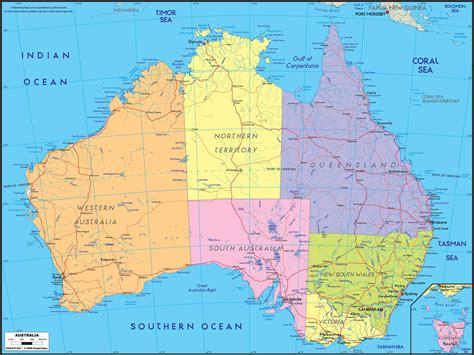 map or australia australia political wall map maps