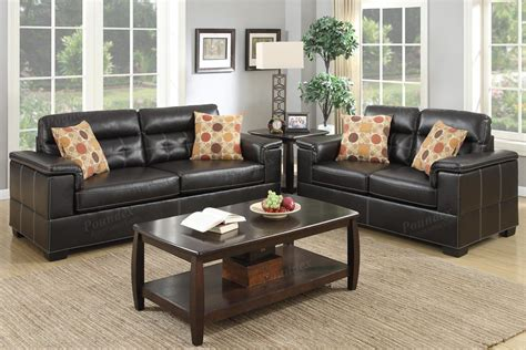 brown sofa and loveseat sets poundex bron f7699 brown leather sofa and loveseat set
