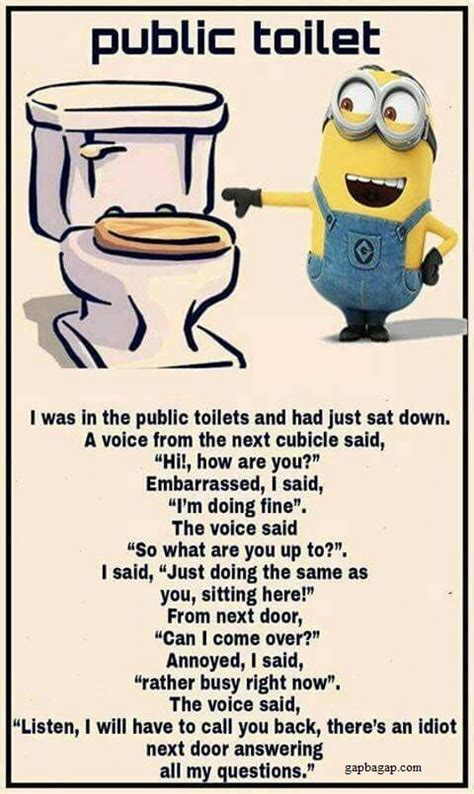 Public Bathroom Meme - funny minion joke about public toilets funny