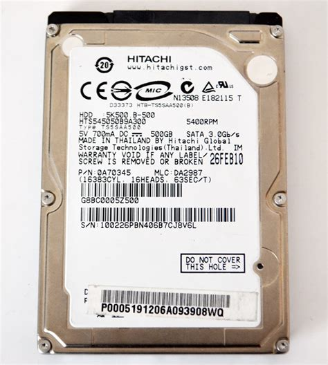 Hardisk Hitachi 500gb Sata 500gb hitachi hts545050b9a300 sata drive 0a70345 da2987 for parts ebay