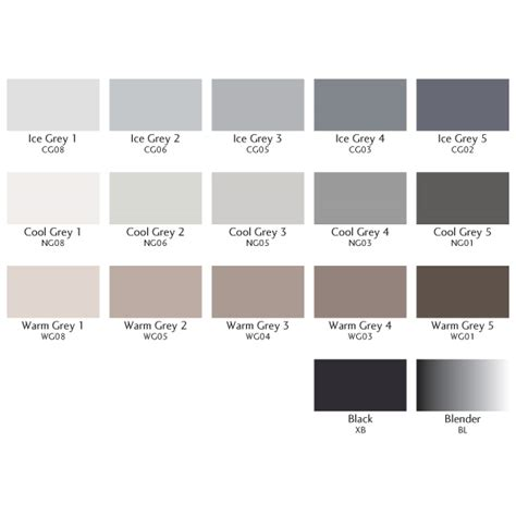 Color Chart Of Letraset Single Grey Promarkers Colour
