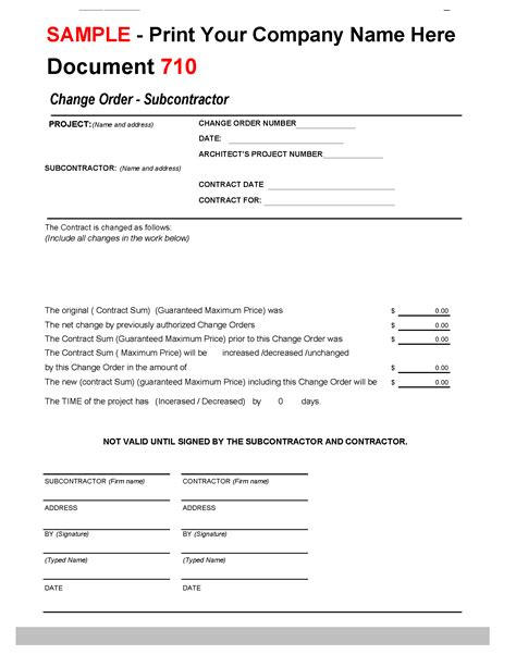 710 Change Order To Subcontractorconstruction Office Online Subcontractor Change Order Template
