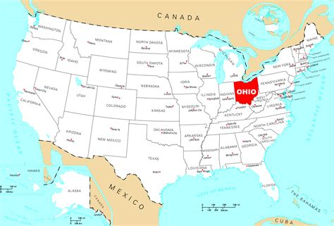 ohio in usa map northwest united states map