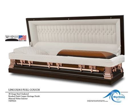 copper couch 18 gauge lincoln copper full couch maritime caskets
