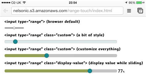 css code for mobile devices recreating the html5 range input for mobile safari webkit