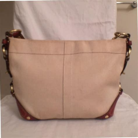 Coach Karee Leather Purse by Coach White Brown Canvas Hobo Bag Tradesy