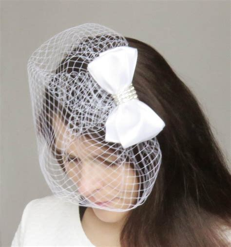 Wedding Hair Accessories Bow by White Satin Bow Wedding Decorative Haircomb Veil Bridal