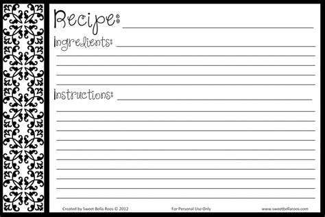 recipe card template blank recipe template printable templates resume