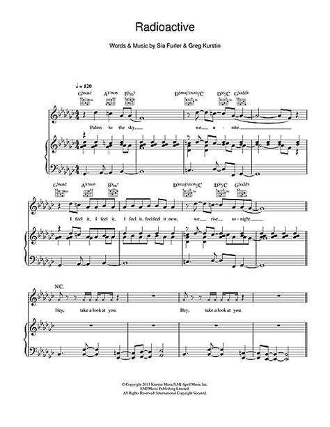 printable radioactive lyrics radioactive sheet music by rita ora piano vocal guitar