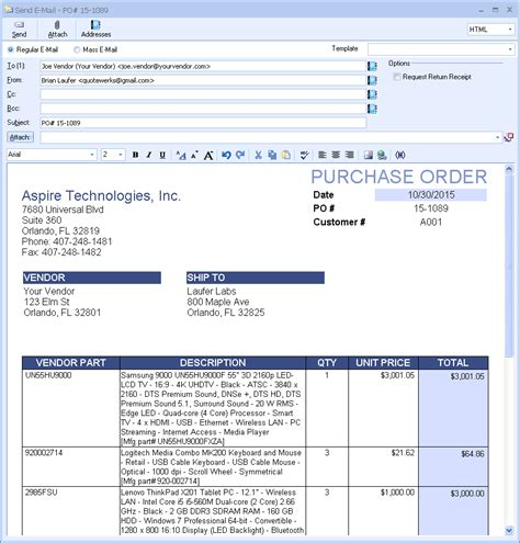 purchase order email template procurement quotewerks 174 cpq