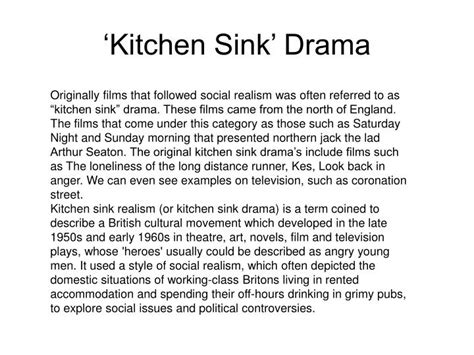 kitchen sink drama ppt research into social realism powerpoint
