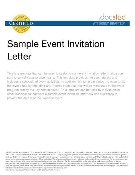 charity event invitation letter template event invitation letter sle and invitation letter for