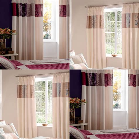 catherine lansfield border patchwork pencil pleat curtains