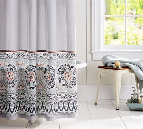 pia bordered shower curtain pottery barn