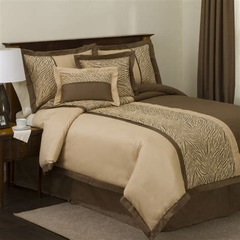 safari comforter set 6pc lush safari taupe chocolate zebra print faux silk