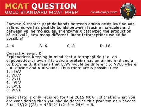chemistry tutorial questions gold standard mcat sle question if enzyme x