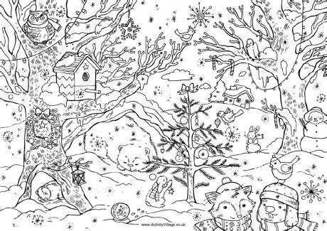 detailed christmas coloring pages for adults christmas woods colouring page