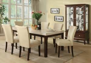 Rooms To Go Kitchen Furniture Kyle Casual White Marble Top Dining Table Set 7pc