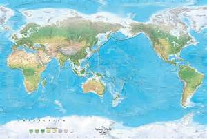 world map image pacific centered the world physical map mural